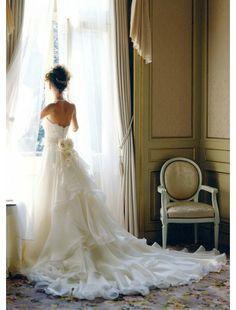 A-Line Strapless Organza and Handmade Flower Wedding Dress - A-Line Dresses - Wedding Dresses - CDdress.com