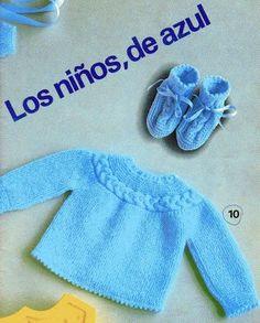 Material: 100g de lã cor azul ag nº 2,5 ou 3 5 botões Pontos empregados: Ponto 1: ponto musgo Ponto 2: ponto meia Ponto 3: pont...