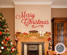Wall Decals for the Home  Merry Christmas by FourPeasinaPodVinyl, $10.00 Christmas present, Christmas décor, wall decal, decals for the home, vinyl lettering, Christmas decoration, Christmas crafts