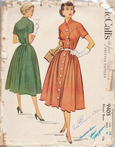 vintage McCall's 9405. Size 12. Bust 30!!  Button down front. Nicely shaped dress.