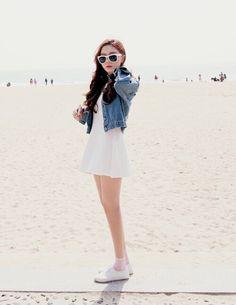 Ulzzang white dress denim jacket beach wear
