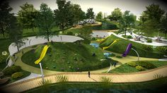 Design project of reconstruction of the park on Behance Modern Playground, Park Playground, Natural Playground, Playground Design, Outdoor Playground, Park Landscape, Landscape Plans, Urban Landscape, Landscape Elements