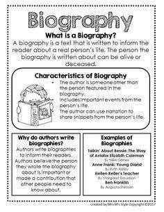 Biography Genre Anchor Chart