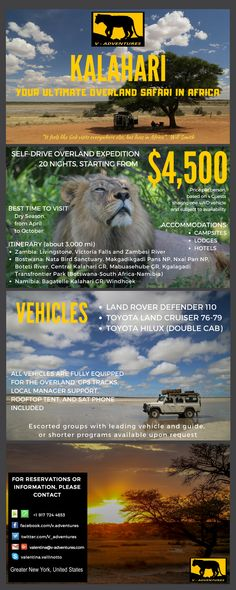 """KALAHARI  Your Ultimate Overland Safari in Africa  """"It feels like God visits everywhere else, but lives in Africa"""". Will Smith"""