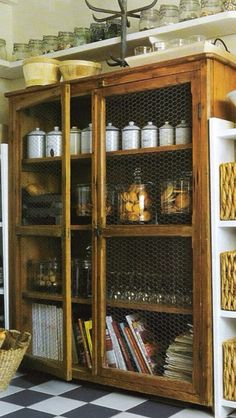 I LOVE THE CHICKEN WIRE DOORS on this pantry!