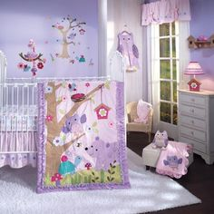 Forest crib bedding for baby girls. Owl and bear in soothing pinks and lavenders is perfect for any infant girl. Lambs & Ivy Mystic Forest baby crib bedding set.