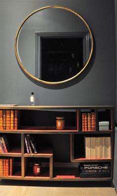 Antique loop mirror, Henri bookcase and Inchyra Blue paint