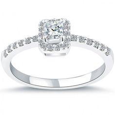 0.56 Carat D-SI1 Certified Princess Cut Diamond Engagement Ring 14k Pave Halo - Thumbnail 1