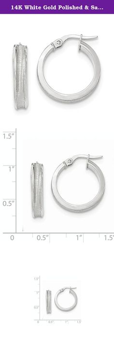 14K White Gold Polished & Satin Concave Hoop Earrings. Attributes 14K White gold Hollow Hinged post Polished & satin Product Description Material: Primary - Purity:14K Length of Item:21 mm Plating:Rhodium Material: Primary:Gold Width of Item:4 mm Product Type:Jewelry Jewelry Type:Earrings Material: Primary - Color:White Earring Closure:Wire & Clutch Earring Type:Hoop.