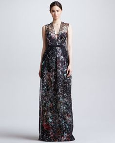 Splatter-Print Organza Illusion Gown, Black/Multicolor by J. Mendel at Bergdorf Goodman. VERY ARTSY