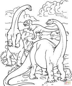 Desenho De Tiranossauro E Alamossauro Para Colorir