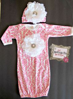 Pink and white damask  Baby Layette ,white Flower Infant Gown and Hat set on Etsy, $29.50