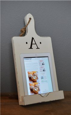 Wood Ipad Stand Cutting Board Style Cookbook Holder