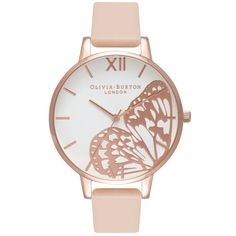 Olivia Burton Applied Wing Watch - Nude Peach & Rose Gold ($120) ❤ liked on Polyvore featuring jewelry, watches, red gold jewelry, white faced watches, monarch butterfly jewelry, rose gold watches and pink gold watches