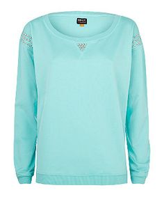 $14 Turquoise (Blue) Only Mint Green Lexa Pearl Shoulder Sweater   279596548   New Look