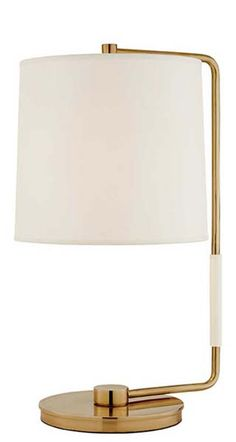 "06 Barbara Barry Swing Table Lamp SWING TABLE LAMP Height: 21 1/4"" Width: 11"" Extension: 13 1/4"" Base: 8"" Round Shade: 10 1/4"" x 11"" x 10"" Wattage: 1 - 75 Watt Type A Socket: Keyless With Line Switch"