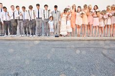 Love the greyscale on the groomsmen and the beige on the bridesmaids