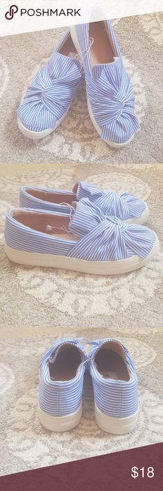 9305f68a023510 A New Day Mellie Slip On Sneakers Size Has a few marks on the bottom  Purchased on here and never worn Blue and white stripes Large sole Adorable  bow detail ...