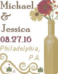 Fall Wedding Cross Stitch Pattern/Gold Wine Bottle with Fall Flowers Cross Stitch Pattern/Fall Wedding Cross Stitch Pattern/Wedding Xstitch by oneofakindbabydesign on Etsy