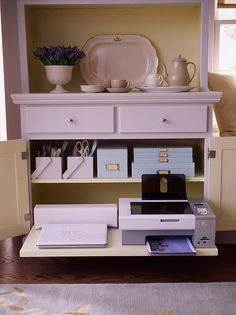 Utilize the drawers of a hutch or china cabinet as a home office. Everything is hidden away at the end of the day.