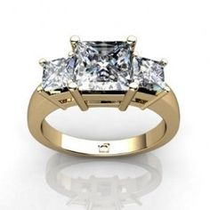 Square Yellow Gold Past Present Futute Ring