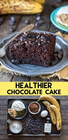 This healthy chocolate cake tastes like a double chocolate chip banana muffin! No refined sugar, butter or oil but uses bananas, greek yogurt and honey as healthier swaps! Healthy Cake Recipes, Healthy Deserts, Healthy Sweets, Healthy Baking, Baking Recipes, Delicious Desserts, Cookies Healthy, Healthy Desserts With Bananas, Healthy Birthday Desserts
