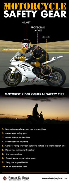 Motorcyclist-- stay safe on the roads with these helpful tips on sharing the roads and wearing the proper safety gear. #motorcyclesafety