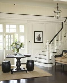 Such a beautiful foyer by Austin Patterson Disston Architects! I've painted my foyer white, now to add the woodwork! Foyer Staircase, Entry Foyer, Front Entry, Staircases, Entry Doors, Floor Design, House Design, Foyer Decorating, Decorating Ideas
