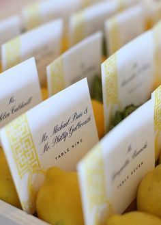 Bridal Bliss in Yellow: escort cards