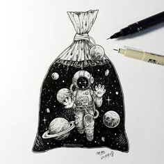 Little man have been trapped in plastic bag like marine animals. - Little man have been trapped in plastic bag like marine animals. Space Drawings, Pencil Art Drawings, Tattoo Drawings, Drawing Sketches, Drawing Bag, Illustration Tutorial, Illustration Art, Astronaut Drawing, Geometric Tatto