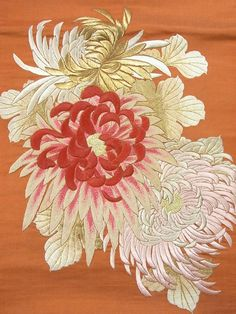 Japanese embroidery.   silk, gold, and urushi coated threads