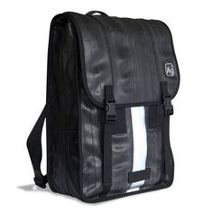 Luggage Design + Sustainable Design | Madison Backpack by Alchemy Goods | shoulder straps are constructed from seatbelts + a colorful recycled billboard back panel