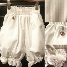 Bloomies classic white. White cotton damask, white on white stripe with white on white polka dot pockets, white eyelet leg trim & #charmies heart. Our most versatile option for matching with virtually anything. Obviously the perfect choice for those more formal occasions. 100% #natural #cotton #girlsfashion #undercovers #foundationgarments #gotchacovered #playharder #comfort #confidence #madeinusa #wedding #flowergirl #communion