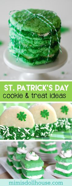 St. Patrick's Day: Sweet Treats and Festive Cookies. Take a bite of good luck with these adorable St.Patrick's Day treats and yummy goodies. Be sure to checkout all our St. Patrick's Day Ideas and Inspiration. via @mimisdollhouse