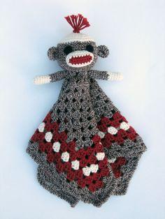 Sock Monkey Lovey CROCHET PATTERN blankey blankie by Bowtykes, $4.50