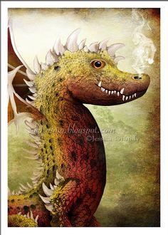 """5x7 Art Print - """"Louis"""" - Red and Yellow Dragon - Fantasy Art Illustration by Jessica Grundy - Small Sized Giclee Print"""