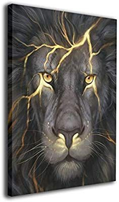 Amazon Com Warm Tone Art Lightning Lion Canvas Prints Wall Art Oil Paintings For Living Room Dinning Room Diamond Painting 5d Diamond Painting Diamond Drawing