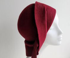 1920s Cloche Hat - Formal Hat - Red Sculptural Cloche - Bordeaux Felt Hat  - Anais