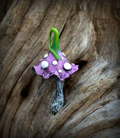 Pink green fairy garden fantasy mushroom  polymer clay by Petradi