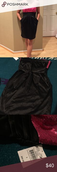 NWT Pink/black sequenced dress; size 3 NWT Pink/black strapless sequenced dress; with pockets; size 3; great for semiformal events; i'm 5'3 ; never worn except for the picture Ruby Rox Dresses