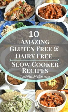 10 Amazing Gluten Free & Dairy Free Recipes ~ I absolutely LOVE slow cooker meals! There is nothing quite as convenient as being able to throw a bunch of ingredients together in a slow cooker and just let it cook all day while you go about your daily ro Lactose Free Diet, Lactose Free Recipes, Wheat Free Recipes, Gluten Free Recipes For Dinner, Allergy Free Recipes, Gf Recipes, Gluten Free Cooking, Slow Cooker Recipes, Healthy Recipes