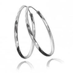 Stříbrné náušnice - kreole s ploškami 52 mm Bangles, Bracelets, Jewelry, Jewlery, Jewels, Bracelet, Jewerly, Jewelery, Accessories