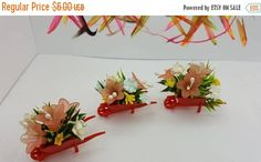 Canada 150 Celebrates Floral Wheel Barrows Miniature Doll House Toy Outside Garden Fairy