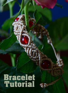 DIY Roses with Beads - Macrame Bracelet Tutorial: Video: .