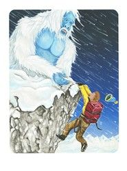 7 of Wands card from the Snowland Tarot (Art by Ron Boyer)