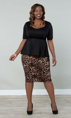 #plus #size #plussize #plus_size #curvy #fashion #clothes Shop www.curvaliciousclothes.com TAKE 15% OFF EVERYTHING! Use code: TAKE15 at checkout Posh Peplum Top in Black and Rhapsody Ruched Skirt in Leopard