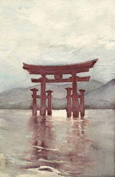 Miyajima. Itsukushima torii by airasan.deviantart.com on @deviantART