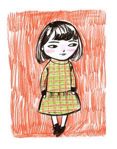 Girl in a Plaid Dress fine art print