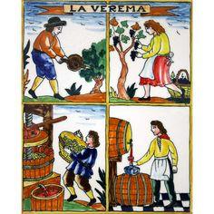 Rajola de ceràmica amb l'auca 'La verema' - Art de la terra - artdelaterra.cat - Productes artesanals amb identitat catalana - Decoració - Joies - Roba i complements - Regals