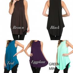 MADE IN THE USA!!    Black, Brown, Eggplant, Mint, & Teal    Small, Medium, Large, & X-Large    95% Rayon/5% Spandex    If you want your tunic personalized, you will need to select the personalization option in addition to the color and size tunic of your choice.    If you are local and want to pick up from us, we will refund shipping minus any handling fees. | Shop this product here: spreesy.com/VIPClothesCrafts/29 | Shop all of our products at http://spreesy.com/VIPClothesCrafts…